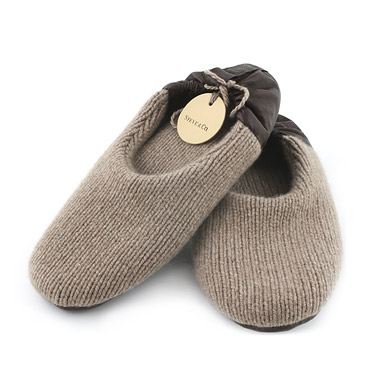 Pantofole in Cashmere Marrone