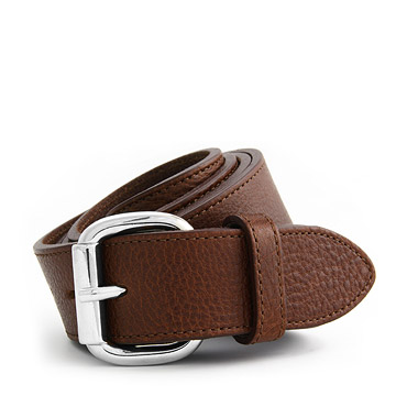 Brown Pebbled Calfskin Belt