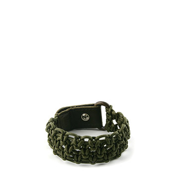 Green Cotton plaited unisex bracelet
