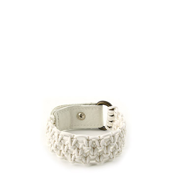 White Cotton plaited unisex bracelet