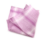 Pink Checked Linen Handkerchief